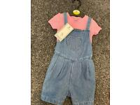 9-12 month short dungarees with T-shirt