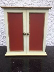 Cream and Terracotta Painted Wall Cupboard / Cabinet ideal as a Bathroom Cabinet or Key Cupboard