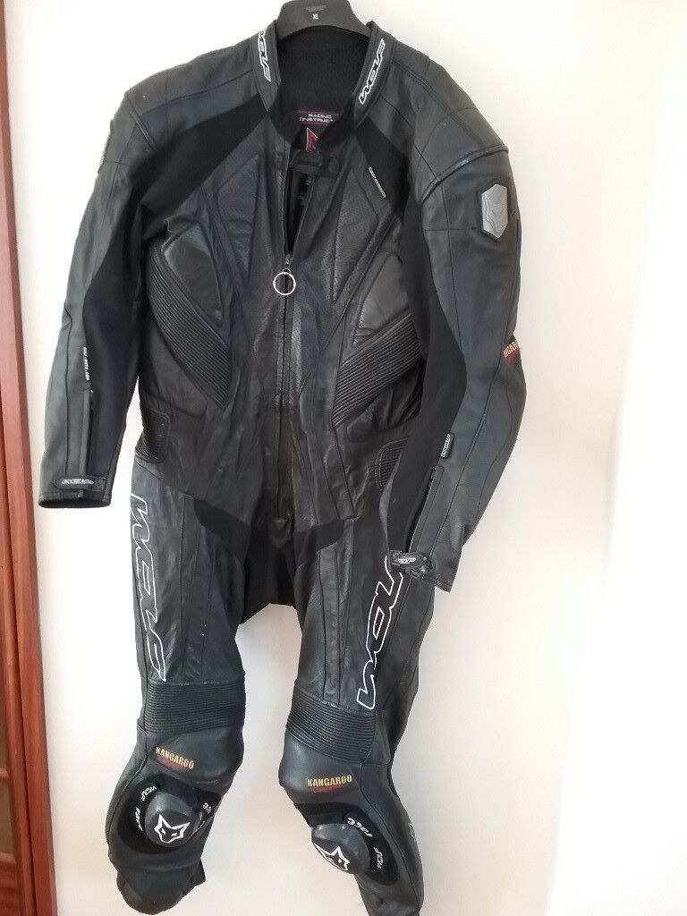 Wolf black leather biker suit