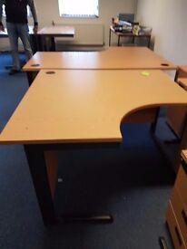 Oak effect office corner desk, Oak effect smallish corner desk 1200mm