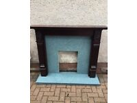 Hardwood fire surround with marble hearth