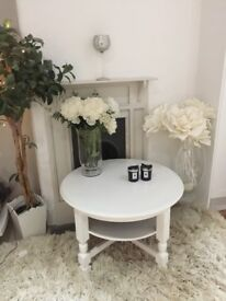 Shabby Chic White Round Coffee, Side Table