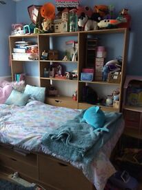 Single bed and storage unit