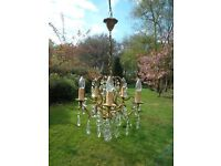 very pretty 5arm vintage French bronze chandelier with unusual drops(X90)