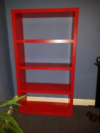 Red bookcase/shelving unit