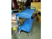 2 blue tea trolleys on wheels - metal