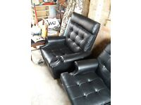Parker Knoll Retro Vintage Black Sofa Chairs