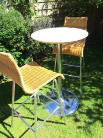 Bistro table and 2 high wicker chairs