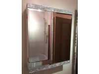 Bathroom mirror cupboard - white and silver features from Next
