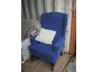 QUALITY ORNATE 'ELCTRIC' BLUE FIRESIDE CHAIR. HIGH, FIRM SEATED. IN GOOD ORDER. VIEW/DELIVERY POSS