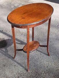 Oval mahogany side table