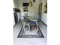 John Lewis Glass Dining Table with Chrome Legs & Oak Jointing Piece