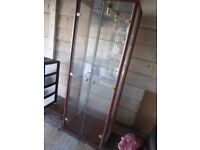 4 shelves glass cabinet with bulb and power 65 x 25 inches in v.g.c.