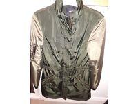 Khaki and light brown 3/4 length coat