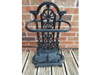 Vintage Antique Style Small Black Cast Iron Umbrella Stand