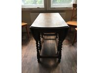 Sturdy Solid Dark Wood Dining Table
