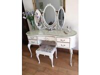A SUPER FRENCH LOUIE STYLE DRESSING TABLE WITH TRIPLE MIRRORS AND STOOL