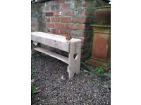 "Recycled Wood, Two Seater Garden ""Memories"" Bench with Hearts ideal as Wedding /Anniversary Gift..."