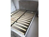 King Size Mink Fabric Upholstered Bed Frame