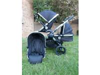 Icandy peach 3 Double buggy pram Carrycot Black Magic i candy