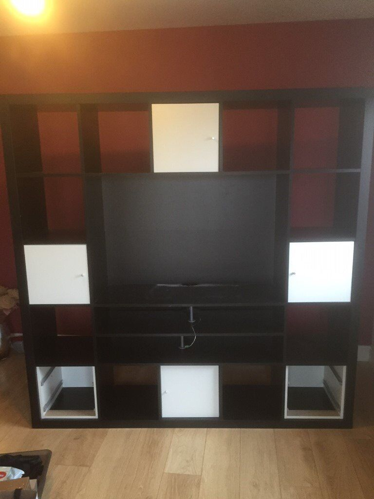 A lovely wall unit TV unit, well made, solid wood, Black   in Wishaw ...