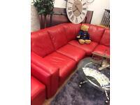 Red leather corner sofa £225 delivered