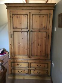 Solid pine double wardrobe