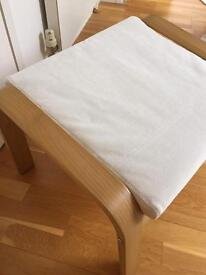 Ikea Poang Footstool In Beech and White