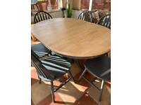 Trendy up cycled solid wood table and six chairs on Laura Ashley style pedestal