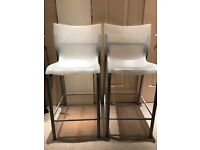 Pair of modern bar stools, perfect height for children at a normal table