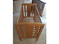 East Coast 'Katie' cot in beech (natural finish); adjustable heights, drop side & teething rails