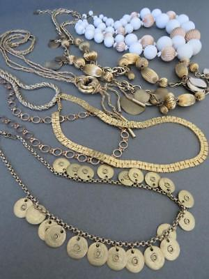 Vintage Gold Tone Chokers Necklaces Revival Estate Jewellery Lot