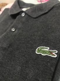 Mens Lacoste Polo Shirt - Size 3 - Charcoal Gray Stone wash - Great condition.