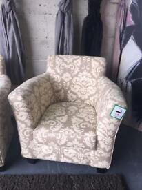 New Nancy Fabric Accent Chair In Natural Colour Print