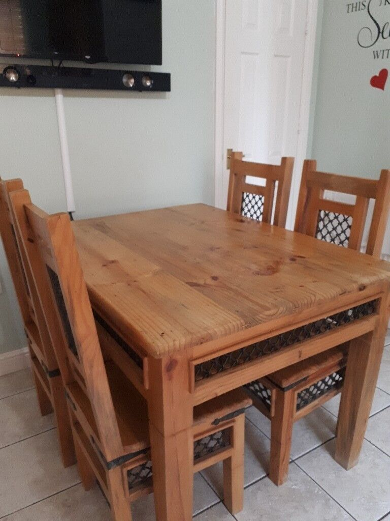 Rustic Solid Mexican Pine Dining Table And 4 Chairs For Sale Very Good Condition