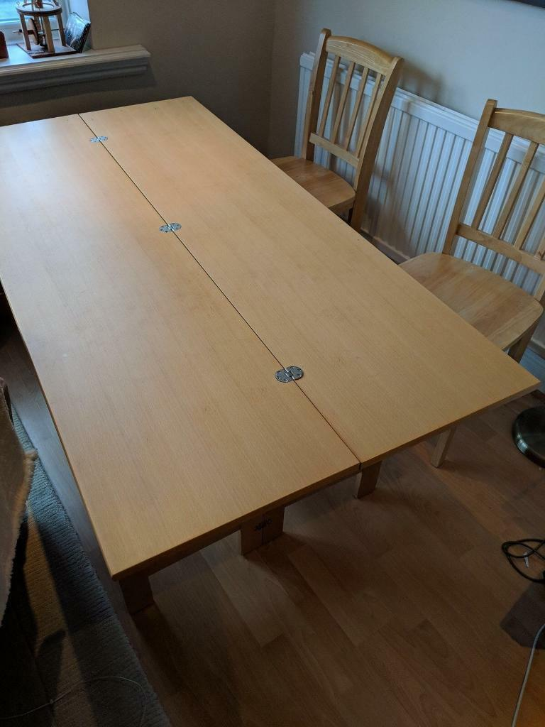 Extendable Dining Table Lengthwise Folding 2 6 Seater In