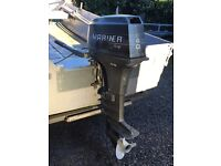 Mariner 40hp tiller controlled outboard, and Aluminium boat on a custom built double axle trailer.