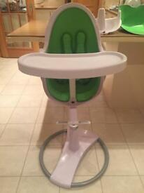 Bloom Fresco Chrome Contemporary Leatherette Baby Chair, White with Gala Green