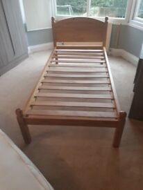Single solid pine bed and mattress