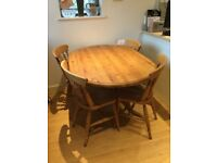 Solid pine oval table and 4 chairs