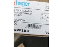 HAGER 3 pole Isolator switch with fan symbol 250V - total of 10 - brand new
