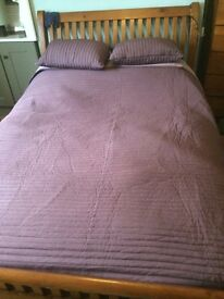 IKEA reversible double bed throw and cushions. Great condition. Light purple/dark purple.