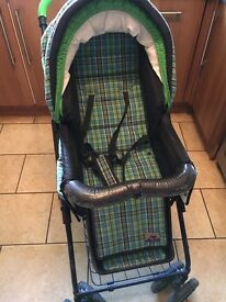 Bebecar navy lime check pushchair