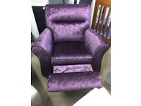 DFS BRAND NEW CRUSHED VELVET RECLINING ARMCHAIR