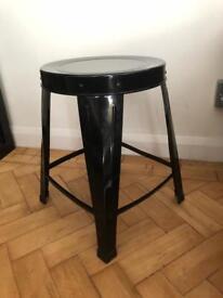 Black Metal Stool / Side Table