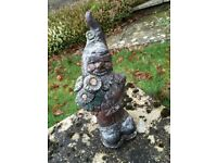 Stone Garden Ornament Gnome With Flower