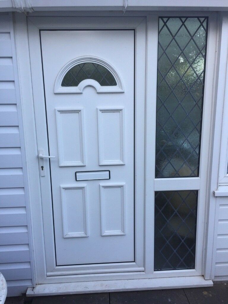 White Upvc Front Door With Obscure Glass Side Panel And Letter Box