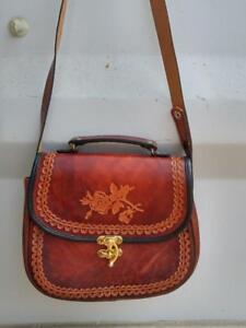 Oakville Vintage but NEW Tooled Leather Purse Shoulder Bag Rose Design Excellent brown Retro