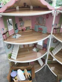 Corner dolls house with futniture