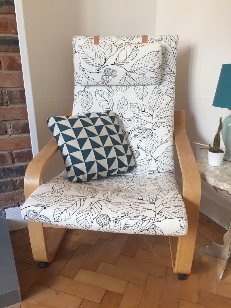 Admirable Ikea Poang Chair With 2 Covers Leather And Pattern Fabric In Bridgend Gumtree Evergreenethics Interior Chair Design Evergreenethicsorg